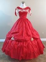 Красный ну вечеринку платье гражданская война костюм ренессанс платье атласное платье