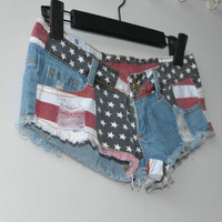 2017 Zomer Nieuwe Jeans Vrouwen Ripped Korte Jeans Shorts Casual Sexy Lage waisted Ripped Jeans USA Vlag Gedrukt Denim Shorts