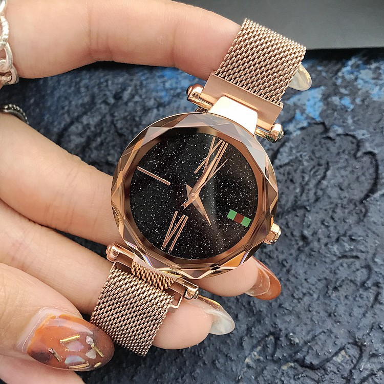 Top Brand Stainless Steel Mesh Band Watches Women Luxury Starry Sky Dial Roman Numerals Quartz Watch Clocks relojes para mujer