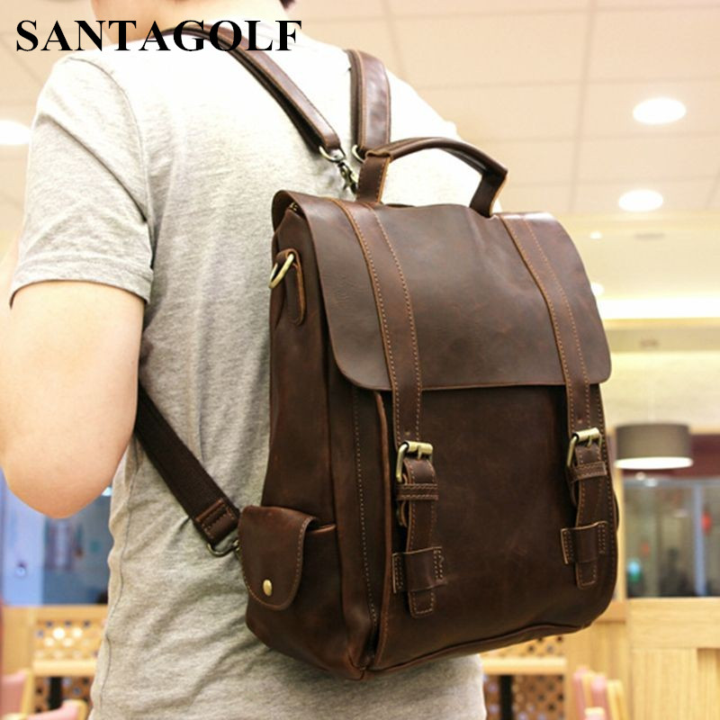 2018 Vintage desisgn Men leather bags/ Faux crazy horse PU leather male multi-purpose backpack Daily travel backpack faux leather flowers mini backpack