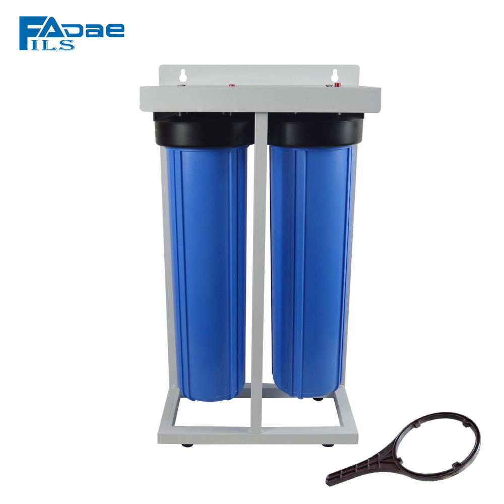 2 Stage 20-Inch Big Blue Whole House Water Filtration System with Stand , PP Sediment, Activated Carbon Filter and Wrench kristal big blue 10 pp 10mcr