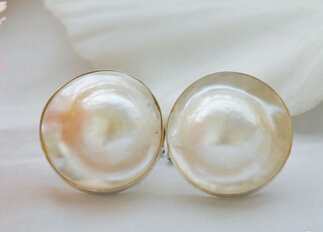 FREE SHIPPING>>> shitou 00390 Rare nature 21mm white south sea mabe hope pearl earring