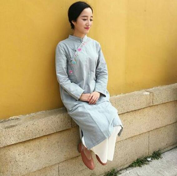Lose Kleid Sommerkleid langarm baumwolle hanf China alte frauen ...