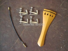1 PC Boxwood Violin tail piece 4/4 with Silver Fine tuners and tail gut