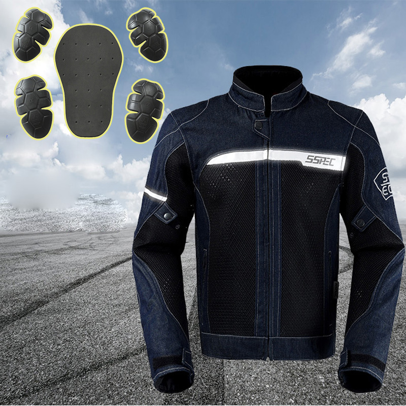 NEW Arrival Moto Casual Denim Jacket Motorbike Protective Jacket Summer Mesh Breathable Men s Motocross jacket