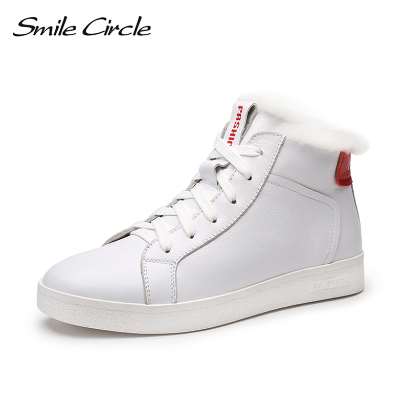 Winter Shoes For Women Genuine Leather Wedge Sneakers Women Fur Elevator Shoes High heels warm High-top platform Snow Boots wolf who 2018 spirng winter women genuine leather shoes high top women platform shoes creeper platform sneakers wedge h 181