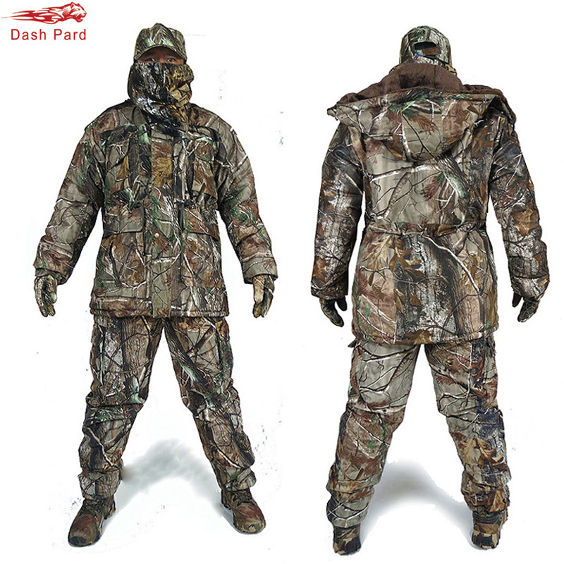 High quality Man Winter Thick Bionic Camouflage Ice Fishing Hunting Ghillie Suit Outdoor Military Cold weather