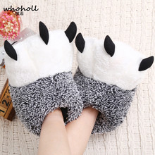 WHOHOLL 2 Colors Winter Warm Home slippers Paw Plush Slippers female Thermal Soft Cotton funny Animal Panda Claw Slippers недорого