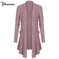 Chesmono Skyblue Knitting Long Cardigan Sweater Women Jumper Grey Sweater Female Coat 2017 Warm Knitted Pocket