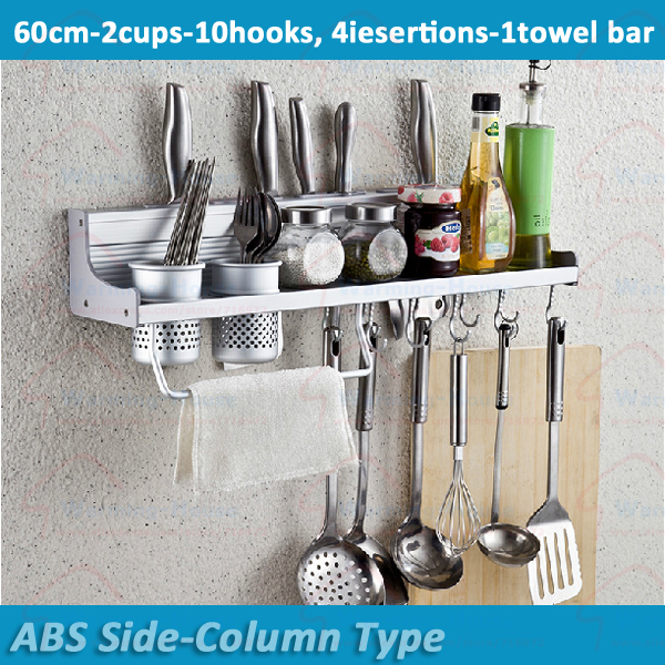 60cm 10hooks 2cups Free Ship Wall Mount Kitchen Accessories Knife Shelves Storage Utensils