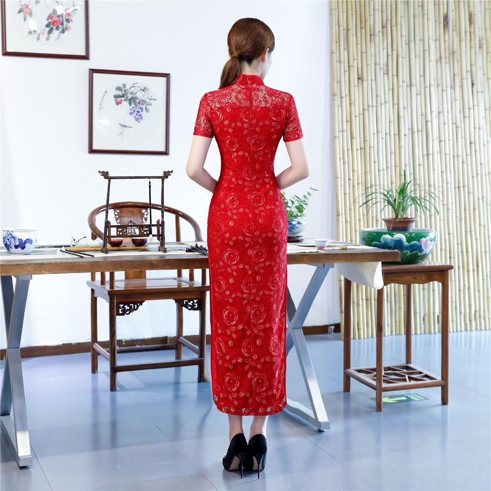 Oriental Histoire Robe Qipao Traditionnelle Style Shanghai Femmes Cheongsam rouge Noir Long Folk Vêtements Chinoise Dentelle Pour Nationale gris Tendance À qnwndCFAa