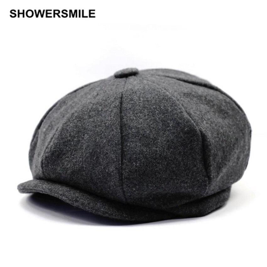 SHOWERSMILE Brand Beret Men Women Wool Tweed Hats Newsboy Caps Gatsby Octagonal Cap Herringbone Vintage British Accessories
