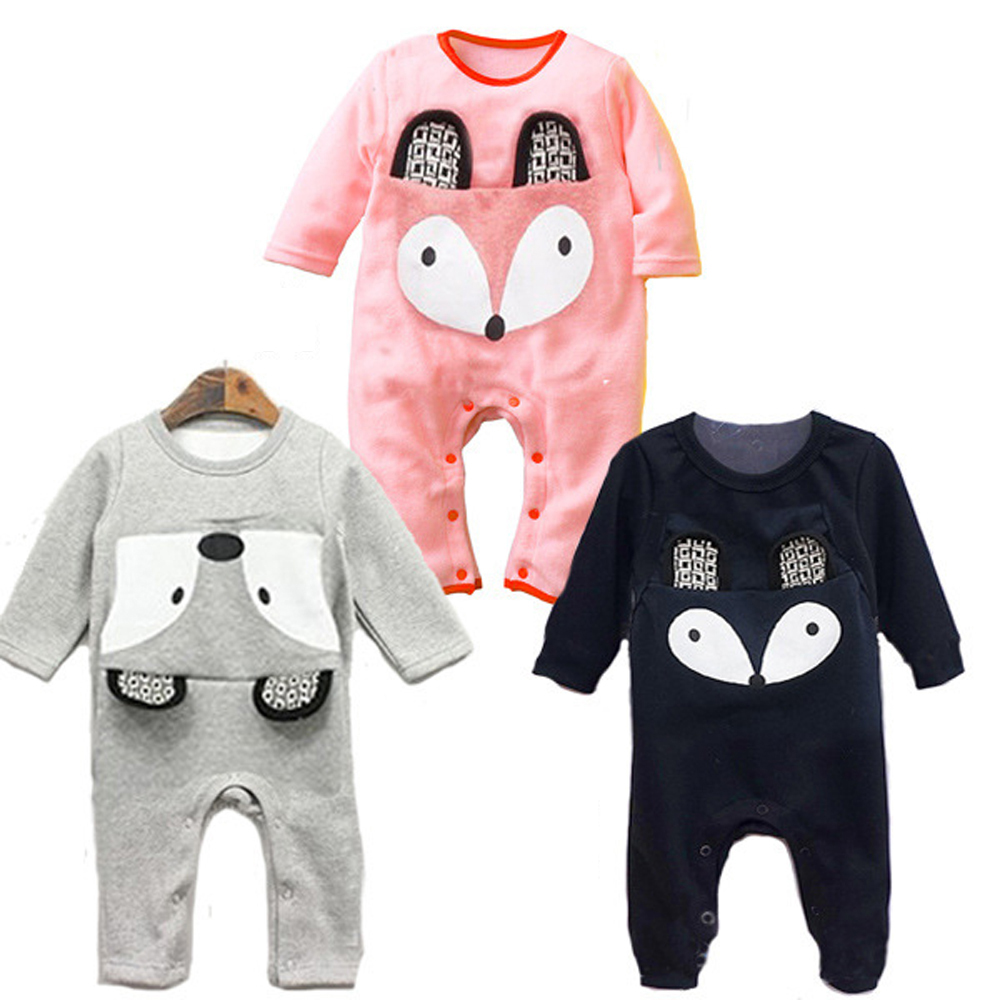 Newborn Baby Rompers Cartoon Fox Printed Cotton Jumpsuits Long-sleeve Infant Costumes Baby Boy Baby Girl Clothes newborn baby girls boy long sleeve organic cotton rompers outfits clothes infant unisex baby jumpsuits overall onesie custome