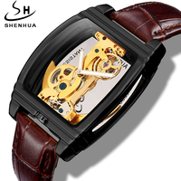 Shenhua Transparent Watch Men Mechanical Genuine Leather Mens Watches Top Brand Luxury Automatic Mechanical Wristwatch Clock Man