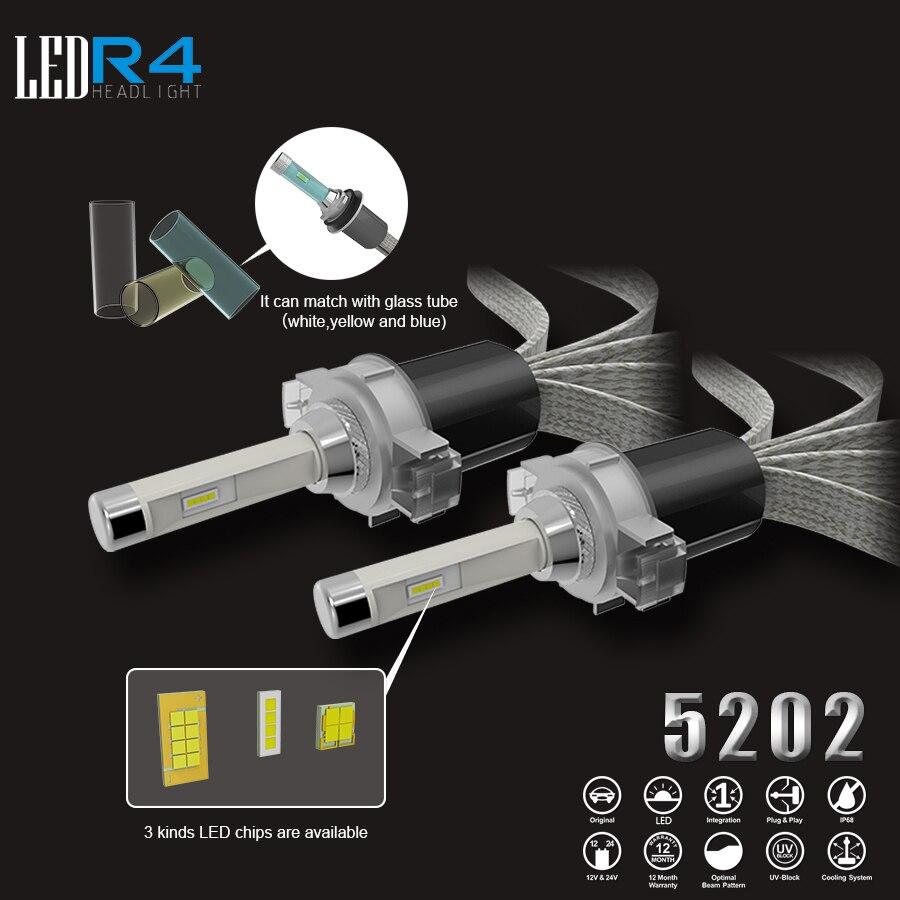 <font><b>R4</b></font> 40 Вт 80 Вт автомобильной светодиодный фар 9005 HB3 9006 <font><b>HB4</b></font> светодиодный Лампа Комплект 12000lm 6500 К H4 H7 9012 5202 D2S автомобиля лампы DRL источник света