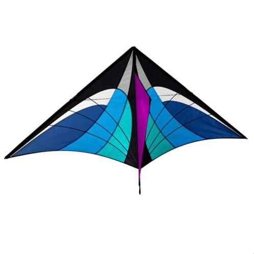 ახალი სათამაშოები 5.2ft მაღალი ხარისხის სიმძლავრის ერთ ხაზის ლურჯი სამკუთხედის Kite სახელურით და ხაზით კარგი მფრინავი ცხელი იყიდება