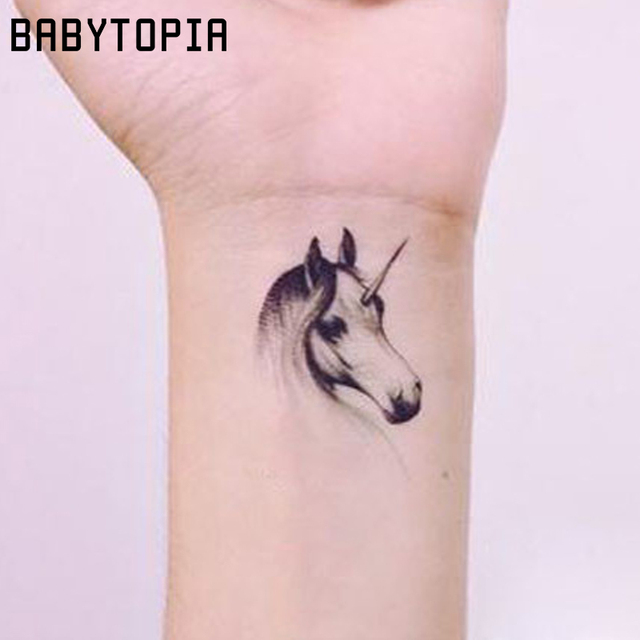 1pc Waterproof Temporary Tattoo Sticker Unicorn Tattoo Small Fake