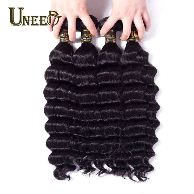 Uneed Malaysian Loose Deep Wave Bundles 4 Remy Human Hair Extensions