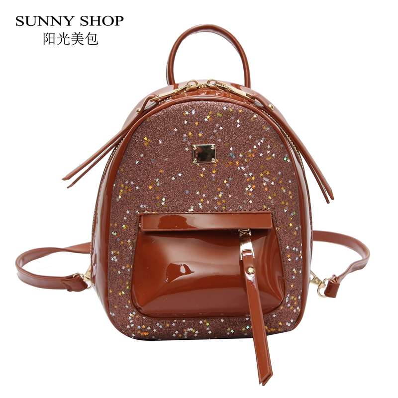 SUNNY SHOP Sequin Bling Stars Women Backpack Summer Korean Mini Leather Bagpack School Student Bags For Teenage Girls Brown Red sunny shop pvc clear backpack set women with straw inner bag female 2018 summer beach bagpack for girls school small kawaii pink