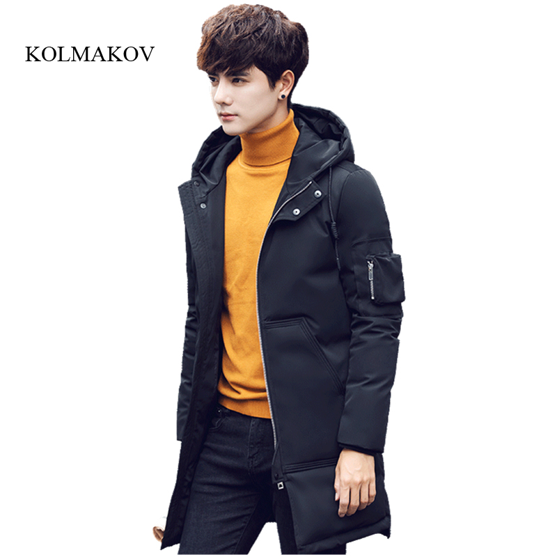 2017 new arrival winter style men boutique down coat fashion casual 90% white duck solid zipper mens long hooded down coat