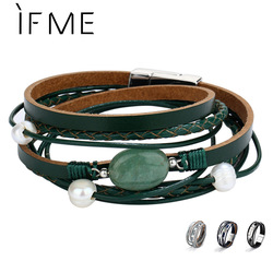 IF ME Vintage Simulated Pearl Stone Leather Wrap Bracelet for Women Men Punk Charms Multilayers Magnet Buckle Bracelets Jewelry