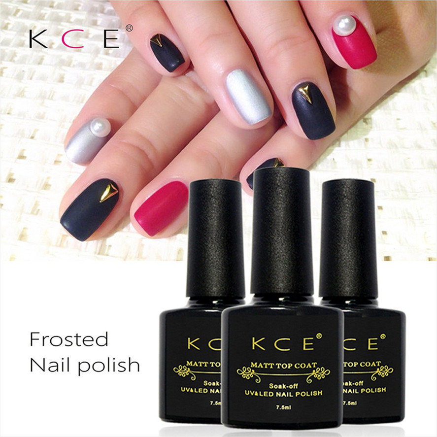 New Arrival KCE 1PC 7.5ml Matte Top Coat Gel Polish Nail Art Finish Top Coat Gel UV Gel  ...