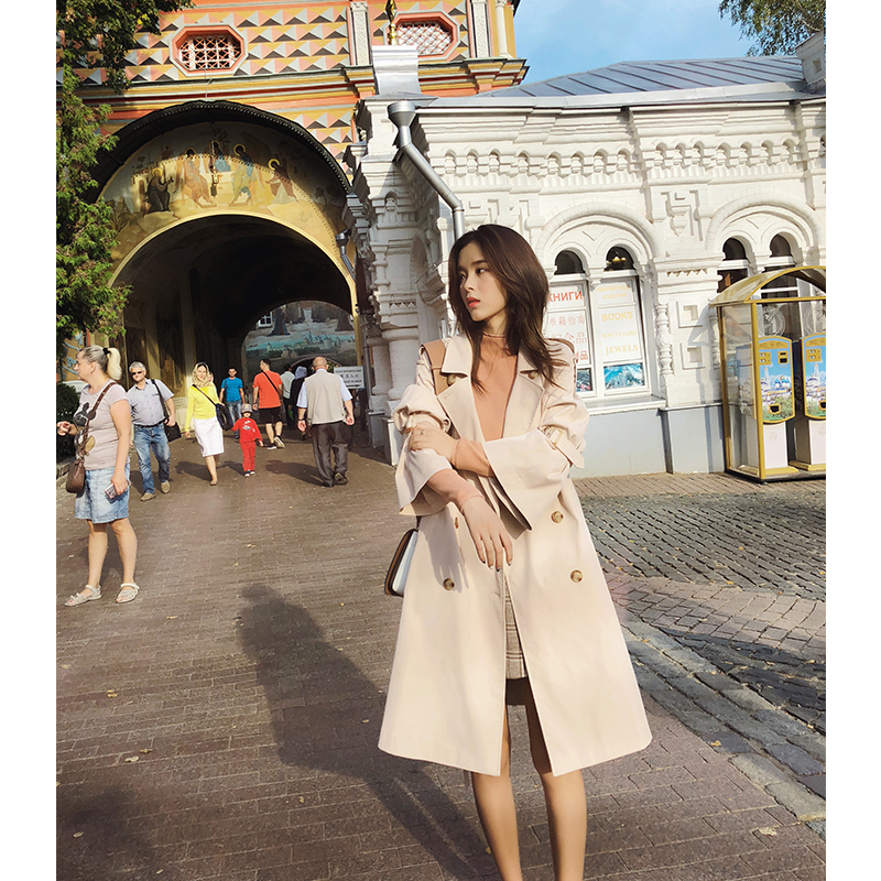 Mishow momen 2018 new autumn fashion Casual women s apricot Trench Coat mid long Outerwear loose