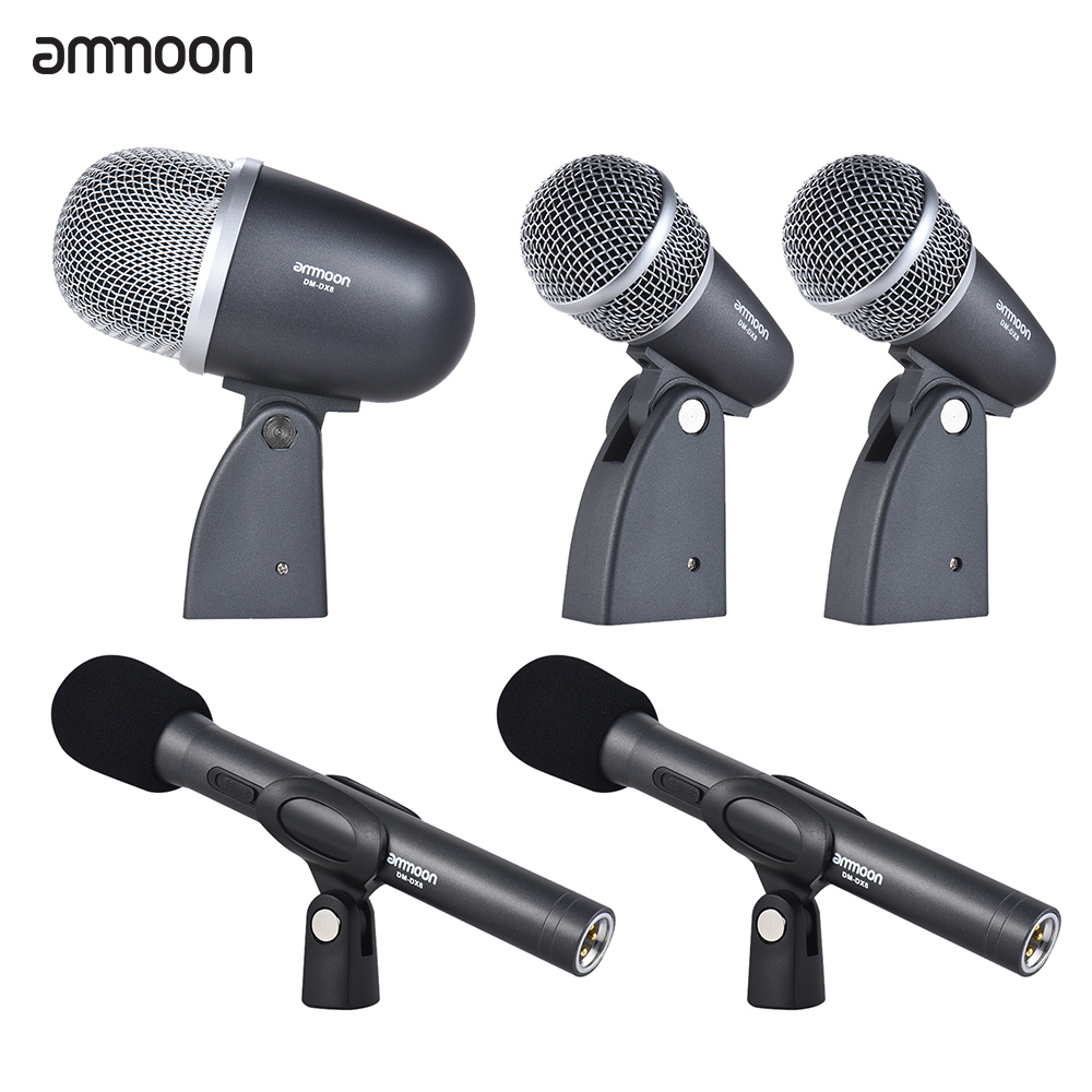 hot sale ammoon dm dx8 5 piece professional wired drum set microphone mic kit with mounting. Black Bedroom Furniture Sets. Home Design Ideas