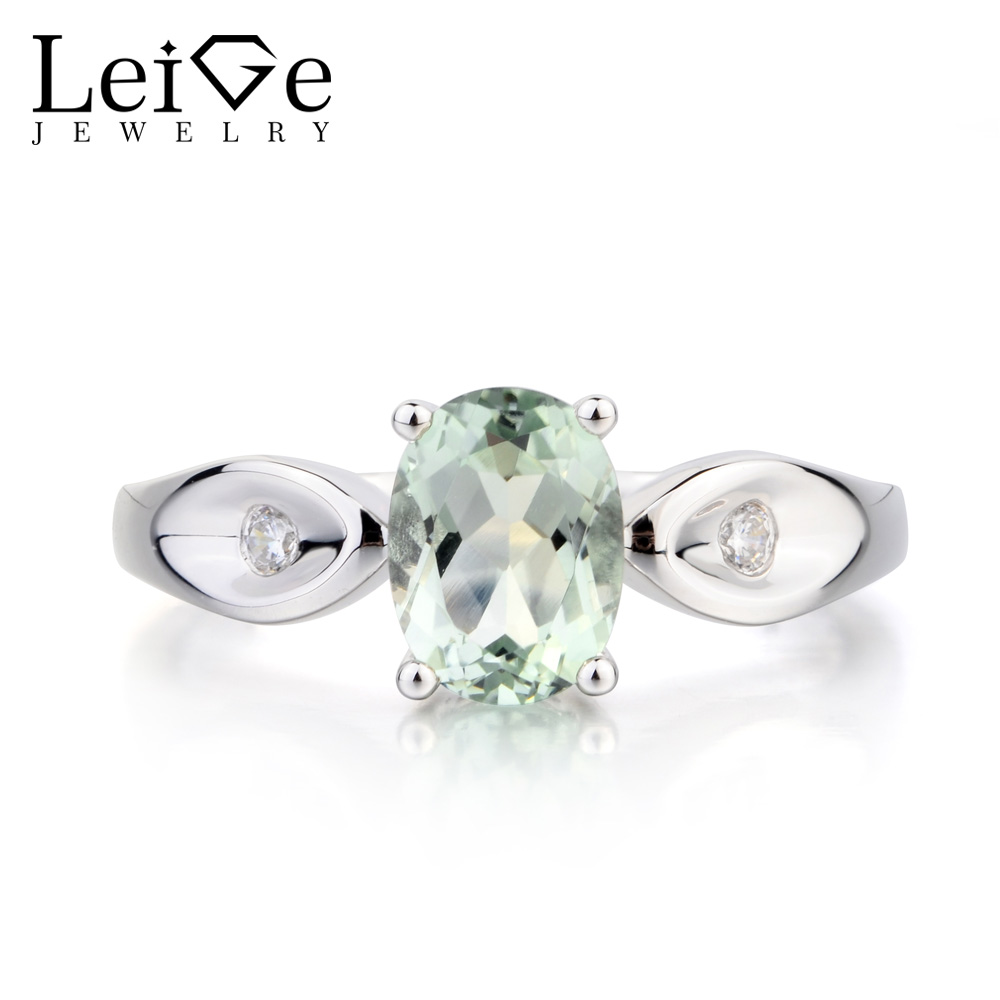 Leige Jewelry Real Natural Green Amethyst Ring Cocktail Party Ring Oval Cut Green Gemstone 925 Sterling Silver Gifts for Women real 18k gold natural amethyst ring for women oval cut big gemstone jewelry modern stylish