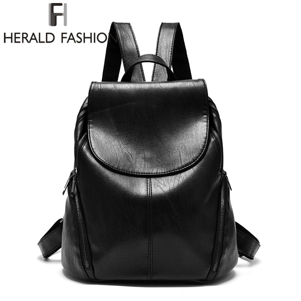 Herald Fashion Backpacks for Teenage Girls Women's PU Leather Backpack School Bag Casual Vintage Large Capacity Travel Backpack brand women backpack pu leather school backpacks for teenage girls shoulder bag large capacity travel bags