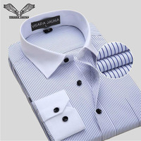 Business Men S Shirts 2016 New Arrvials Mens Shirt Long Sleeve Striped Camisa Masculina Cotton Male