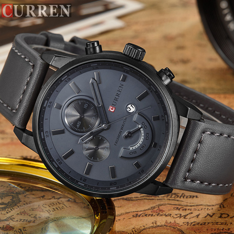 Men's Fashion Casual Sport Quartz Watch Mens Watches Top Brand Luxury Leather Drop Shipping Wristwatch Male Clock CURREN Watches-in Quartz Watches from Watches    1