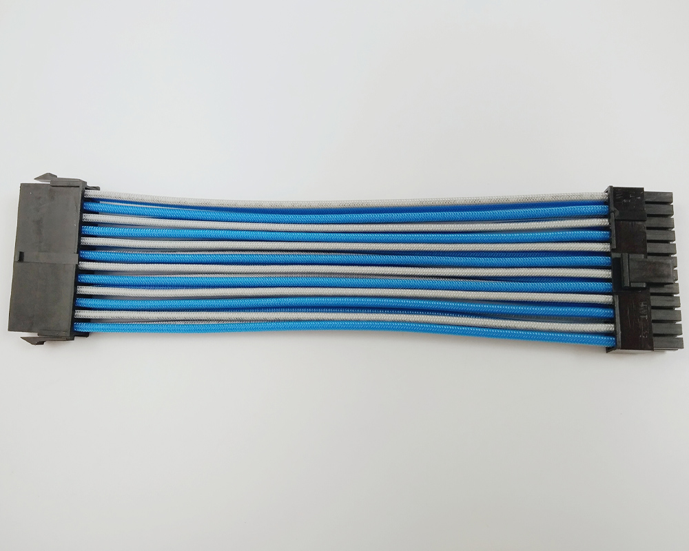 ATX MB <font><b>24PIN</b></font> Female to Male 20+4P 18AWG PSU <font><b>Extension</b></font> Power Cord / <font><b>Cable</b></font> with Light Blue Grey Sleeving image