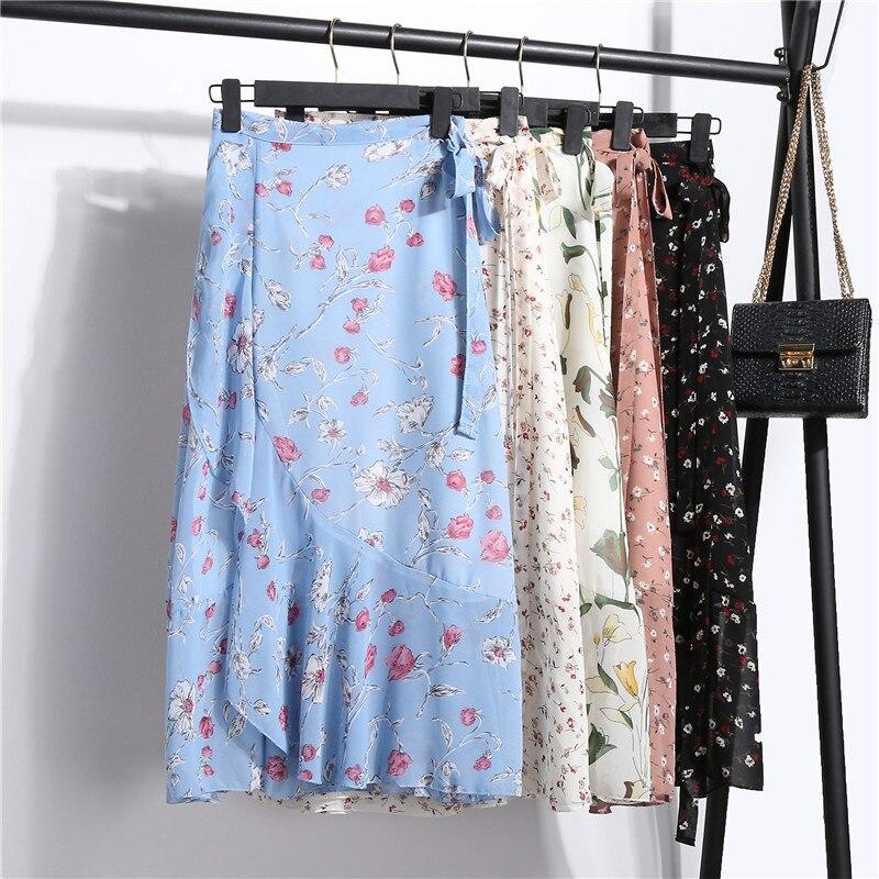 ac01d7e2e Faldas Bohemias de gasa de playa de mujer moda femenina verano Floral cola  de pez falda con volantes ...