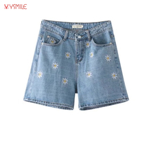 YSMILE Y Women Summer Vintage Denim Shorts New Flower Embroidery Women Ladies Short Jeans Casual Brand Quality Shorts