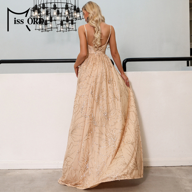 Missord 2019 Sexy V Neck Off Shoulder Glitter Maxi Dresses Female Backless Elegant Prom Maxi Dress  Vestidos FT19292 2