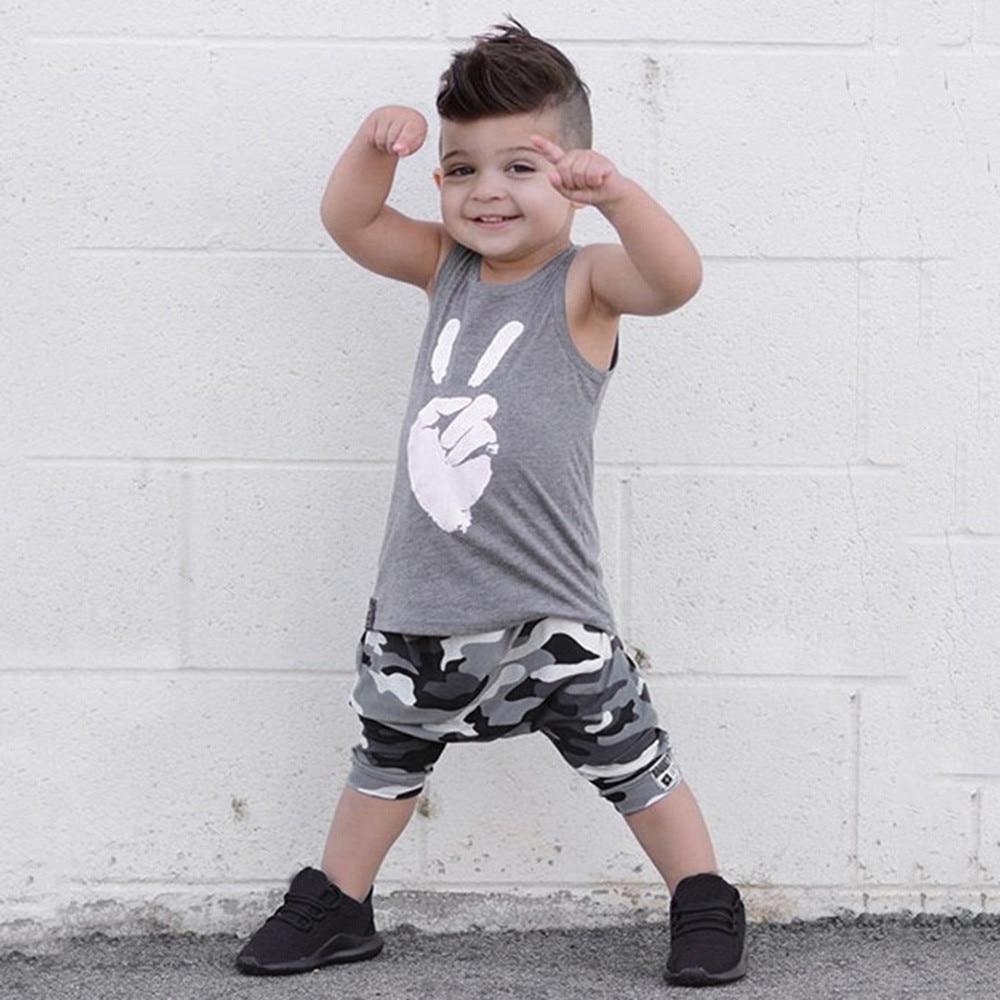 MUQGEW Camouflage Kids Boys Clothes Sets 2018 Summer Toddler Clothing 2pcs Victory T-Shirt + Camo Pants Boy Sports Leisure Suit