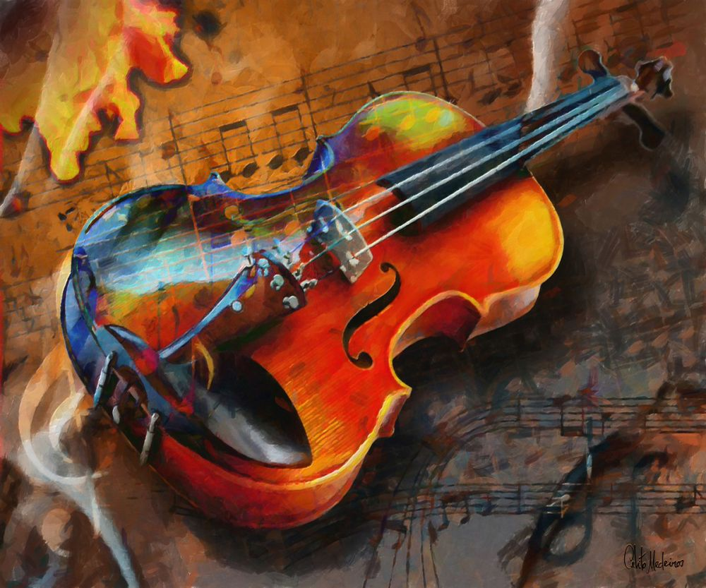 violin abstract painting