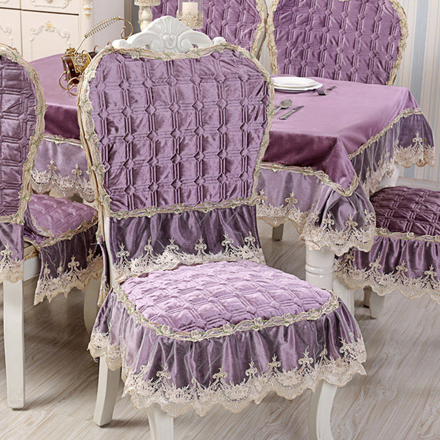 Luxurious Italian Velvet Quilted Table Cloth Thick Chair Covers Cushion  Backrest Wedding Home Top Grade Purple