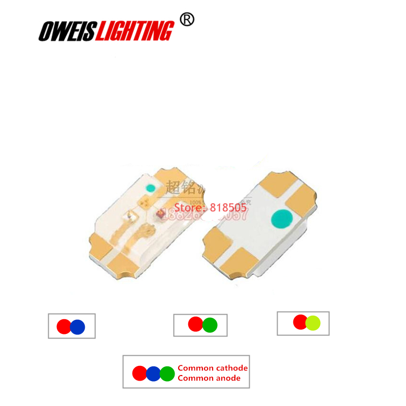 50PCS 3216 SMD LED 1206 bicolor -  Red+BLUE / R+GREEN / R+YELLOWGREEN  RGB - common cathode / common anode full color 20mA