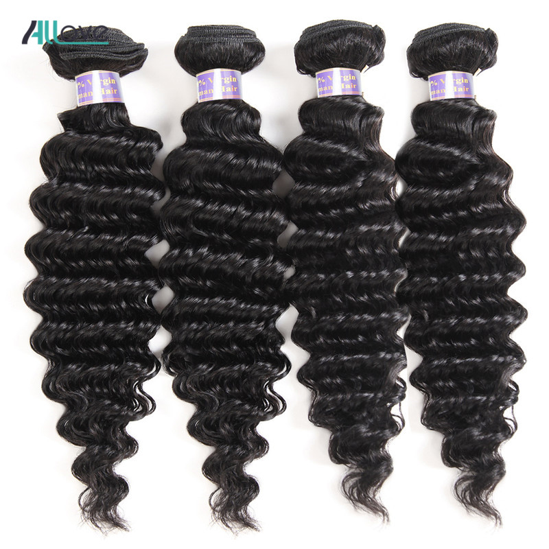Allove Malaysian Deep Wave Human Hair Weave Bundles 100% Hair Extension Non-Remy Natural Color Hair Weaving Machine Double Weft