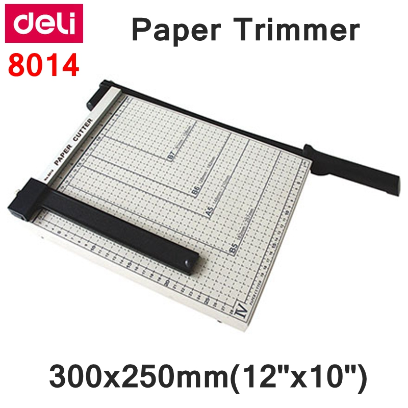 Deli 8014 Manual paper trimmer size 300x250mm 12 x10 large paper trimmer with scaler Paper cutter