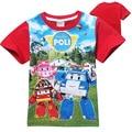 Fashion Summer Short Sleeve Boys T-shirt Cotton Robocar Poli Baby Kids T Shirt Cartoon Children Clothes Tops Tees Clothing