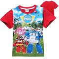 Moda de Verano de Manga Corta Camiseta de Los Muchachos de Algodón Poli Robocar Cabritos Del Bebé T Shirt de Dibujos Animados Niños Tapas de la Ropa Tees Ropa
