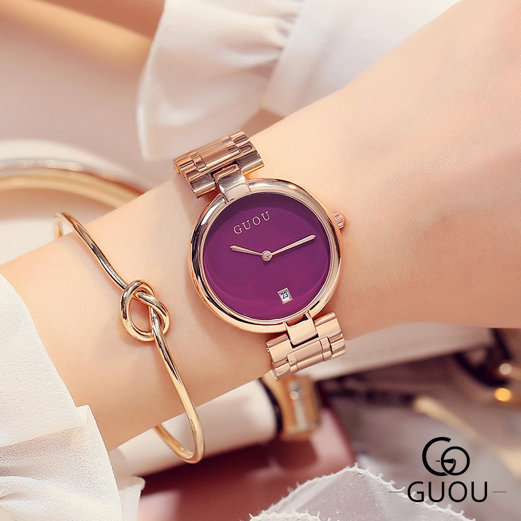 ФОТО  Top GUOU Simple Date Day Clock Female Stainless Steel Watch Ladies Casual Quartz Wrist Women Watches