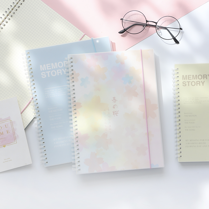 Fresh Bandage PP Coil Notebook A5 B5 Grid Notebook Checkered Horizontal Line Notebook 1PCS