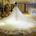 2016 Bling Luxo Cristais Catedral Trem Robe De Mariage Vestido de Casamento Branco Vestido de Noiva Vestido De Noiva custom made
