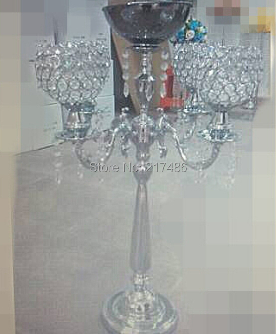 Crystal candelabra flower stand tall wedding centerpieces