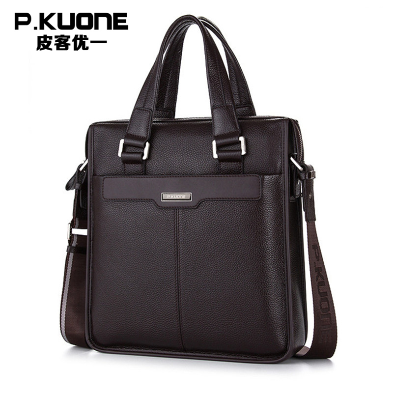 P.KUONE Genuine Leather Male Handbag Designer Fashion Bussiness Men Briefcase 2018 Brand High Quality Messenger Bag Shoulder Bag