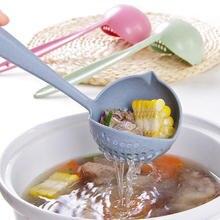 Dinnerware Porridge Soup Spoon with Filter Skimmer Kitchen Utensil Long Handle Colander Kichen  Strainer Basket grease slender filter long handle spoon for oil